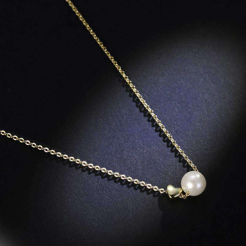 ZEGL Korean Style Delicate Fine Golden Necklace With Pearl Shaped Pendant   All-Match Neck Accessory