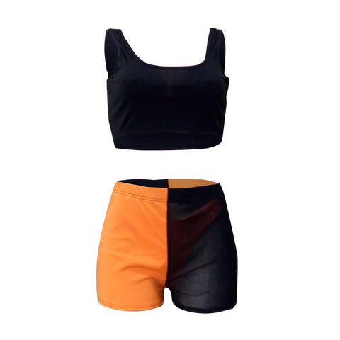 Square Neck Sleeveless Mesh Detail Cropped Top & Short Set gallery 9
