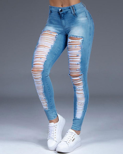 Extreme Distressed Stretch Butt Lifting Skinny Jeans gallery 3