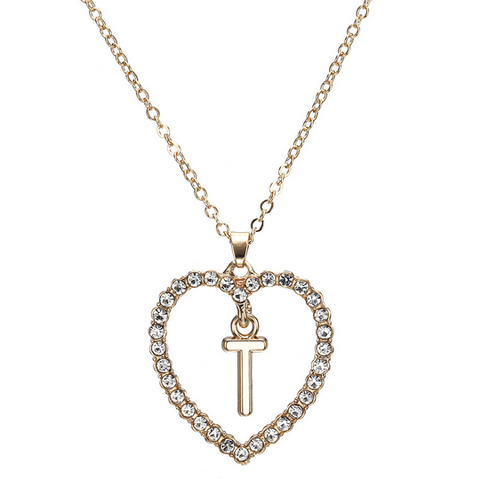 Gold Diamante Heart Shape Initial Pendant Necklace gallery 21