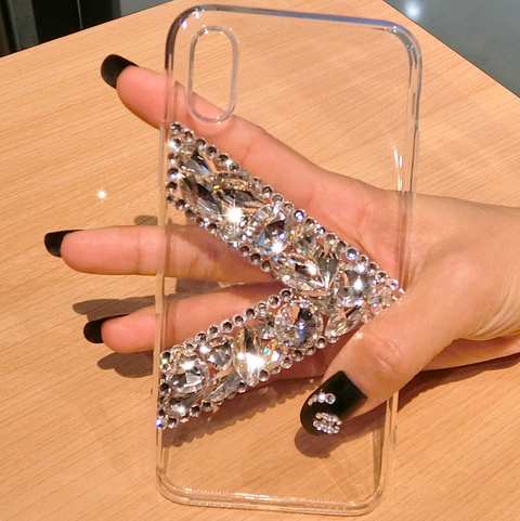 Clear Transparent V Rhinestone Deco Phone Case for Samsung gallery 4