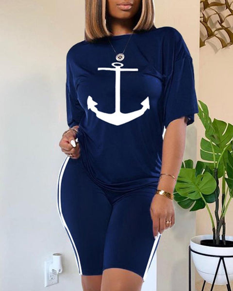 Anchor Print Round Neck Top & Shorts Set gallery 2