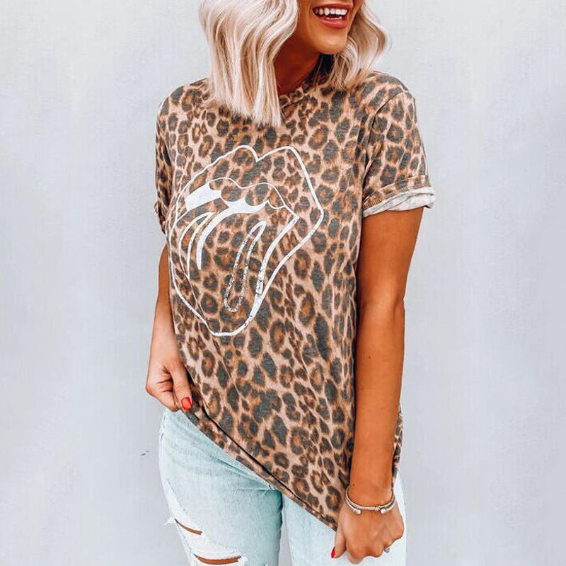 Leopard Print Lip Detail Round Neck T-Shirt