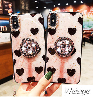 Vintage Heart Pattern Gold Foil Samsung Case with Strap and Phone Holder