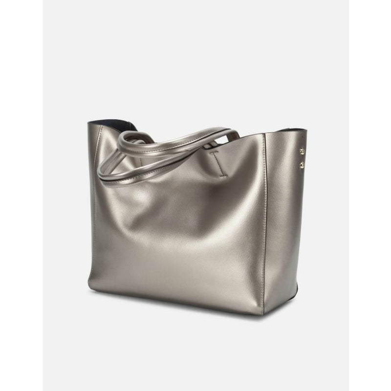 Silver Soft Leather Tote