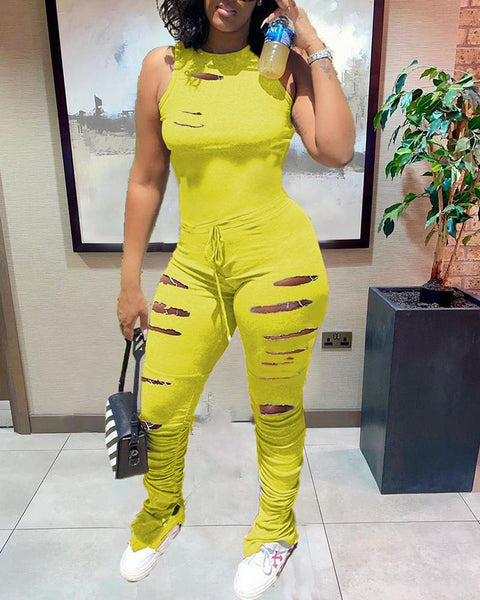 Hollow Out Drawstring Waist Stacked Jumpsuit gallery 4