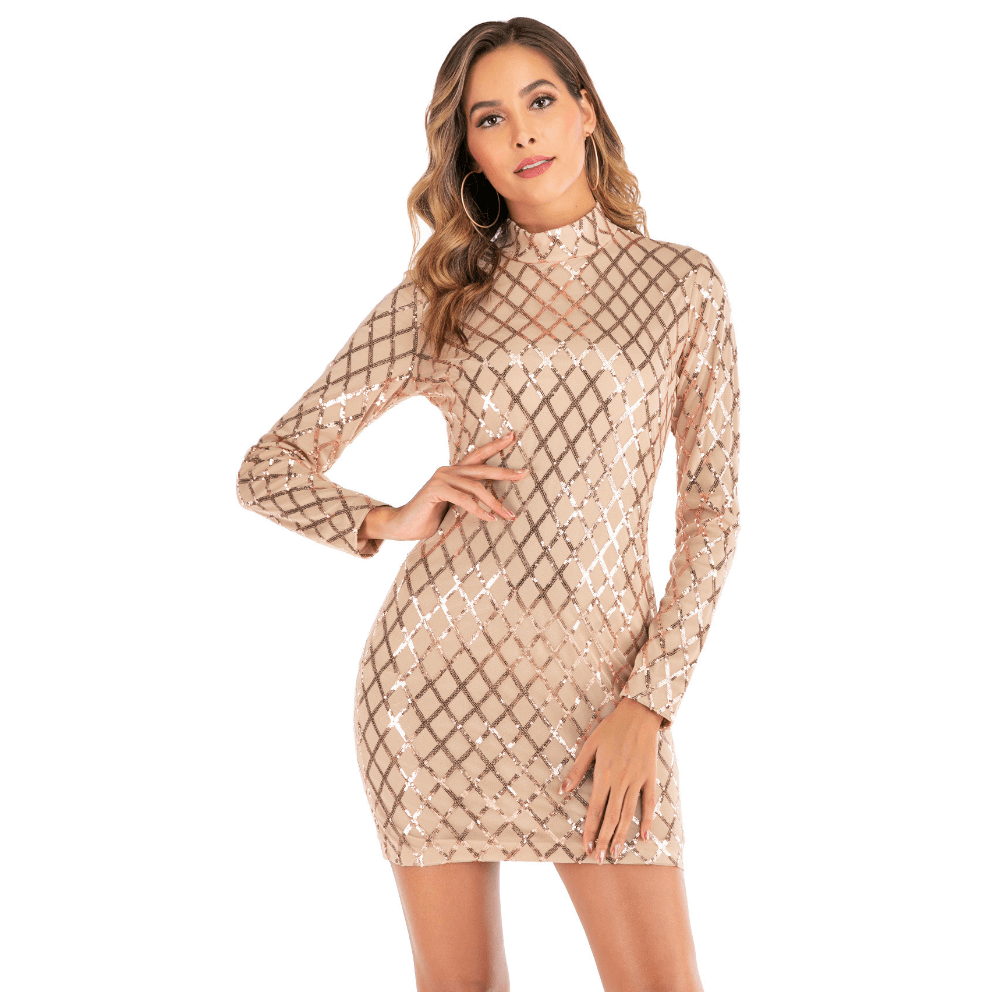 Shiny Sequin Detail High Neck Bodycon Dress
