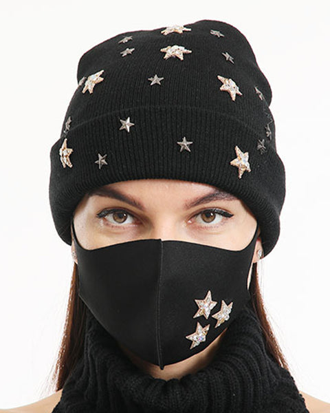 2pcs Rhinestone & Sequin Decor Face Mask & Beanie gallery 4