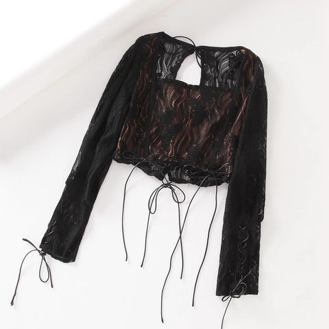 Lace Panel Square Collar Tie Self Cropped Shirt gallery 5
