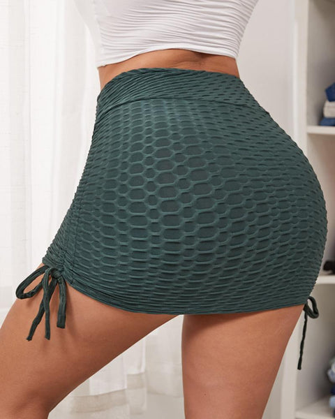 Textured Drawstring Side Sports Skirt gallery 1