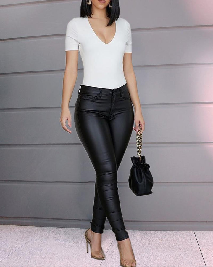 Solid Low Waist PU Leather Skinny Pants gallery 3