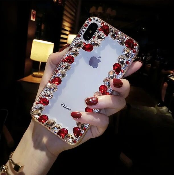 Glittering Rhinestone Side Clear Transparent Phone Case for Samsung