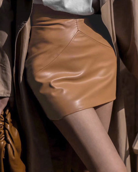 Asymmetrical Zipper Back PU Leather Skirt