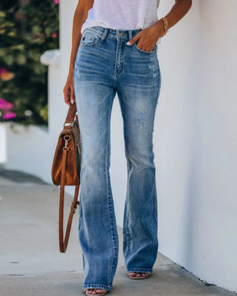 Classic Ripped Butt Lifting Flare Jeans