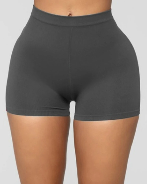Solid Ribbed High Waist Shorts gallery 3