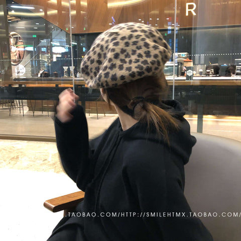 Leopard Print Beret for Winter gallery 3