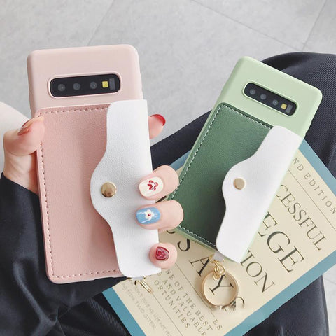 Color Patch with Card Purse Phone Case For Samsung gallery 1