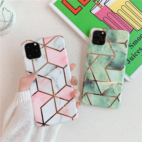 Asymmetric Marble Print iPhone Case