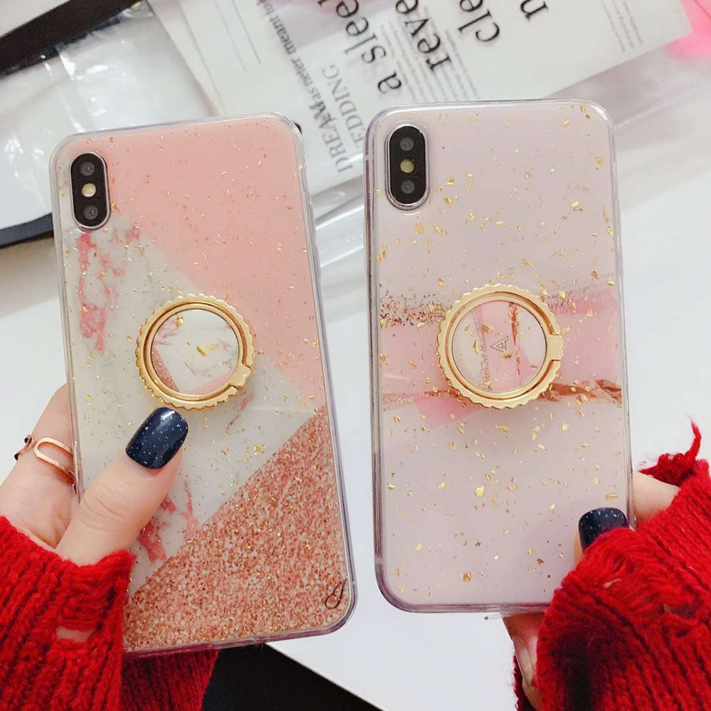 Pink Marble Pattern Case For iPhone With Phone Holder