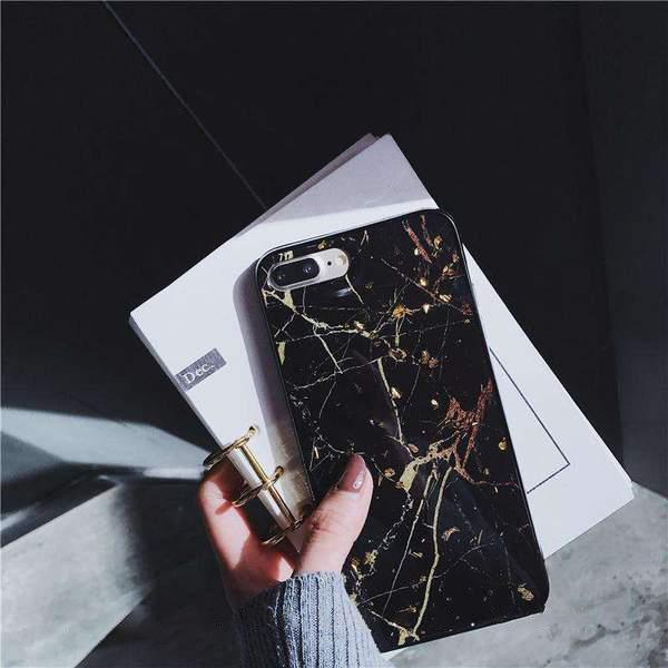 Golden Foil Marble Effect iPhone Case