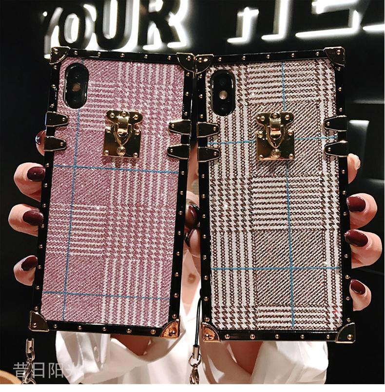Contracted Flannel Full Cover Anti-Fall Phone Case for Samsung with Strap