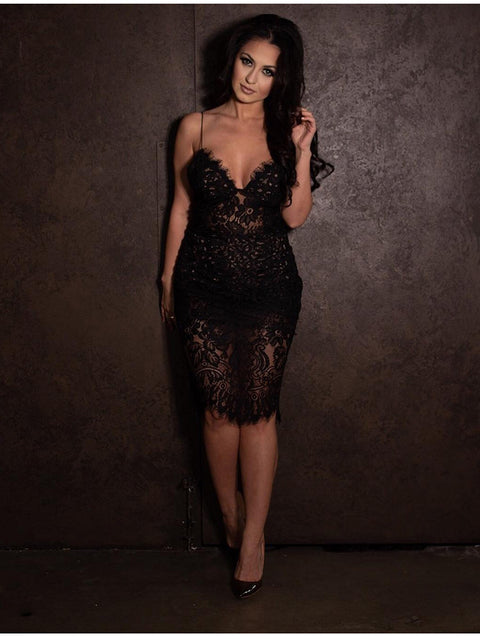 Sexy V-neck Lace See Through Midi Dress gallery 11