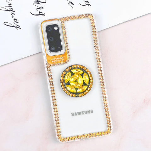 Luxury Crystal Stud Edge Phone Case for Samsung with Phone Holder and Hand Strap gallery 3