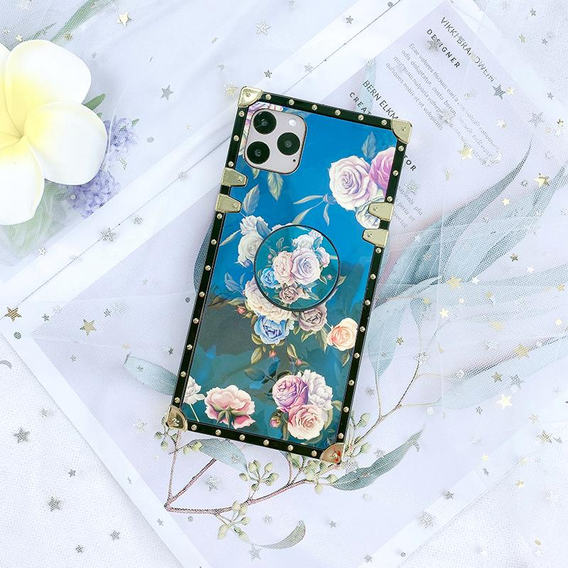 Luxury Floral Print iPhone Case with Phone Holder