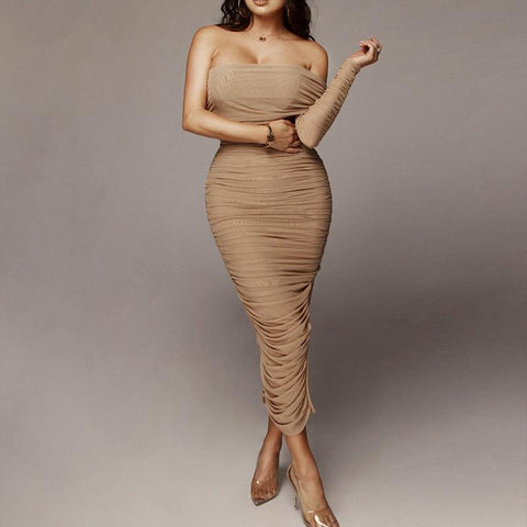 Chic One Sleeve Bandeau Mesh Ruched Split Side Bodycon Dress gallery 3