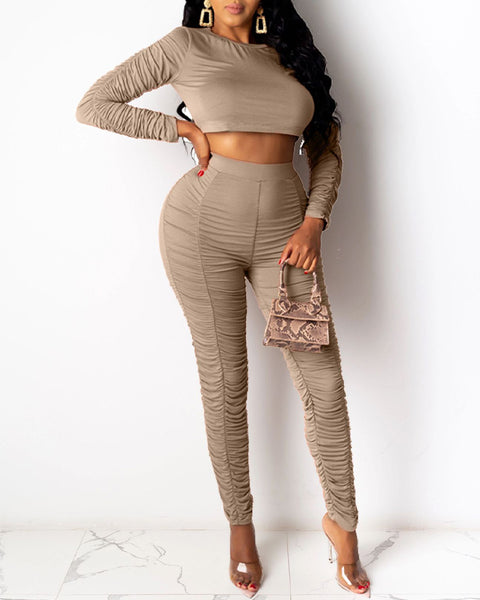 Solid Ruched Trim Crop Top & High Waist Pants Set