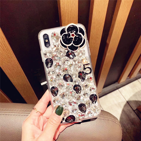 Camellia Full Rhinestone Cover Phone Case for Samsung gallery 2