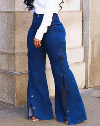 Side Buttons High Waist Flare Jeans
