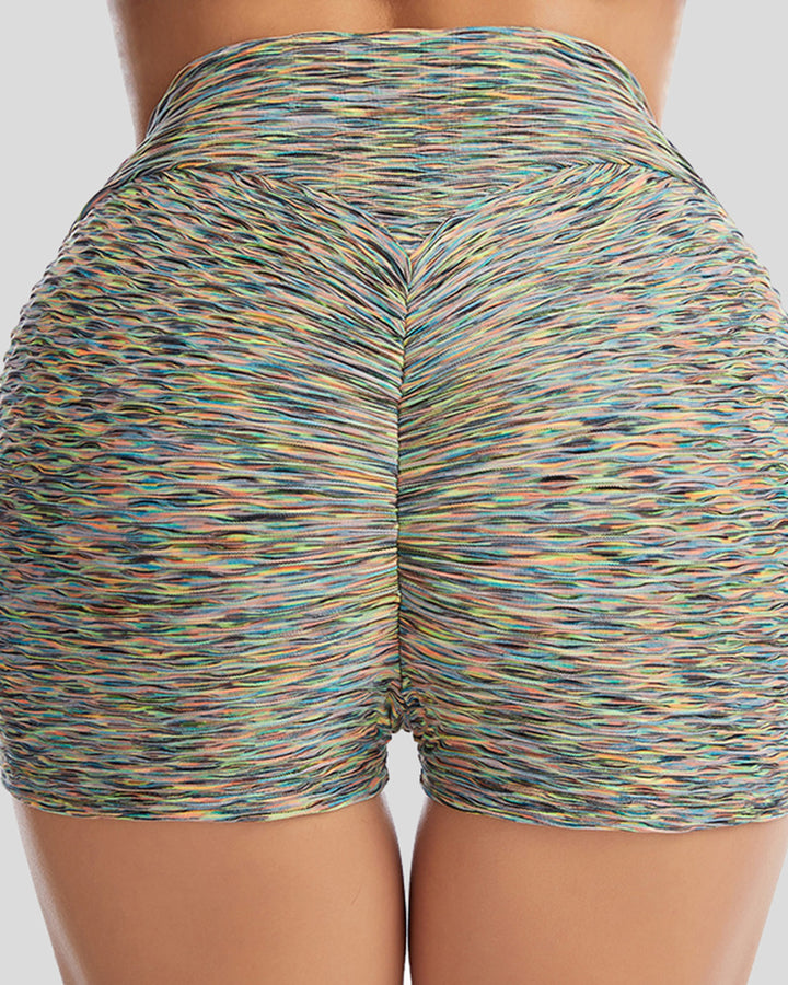 Allover Print Textured Ruched Sports Shorts gallery 3