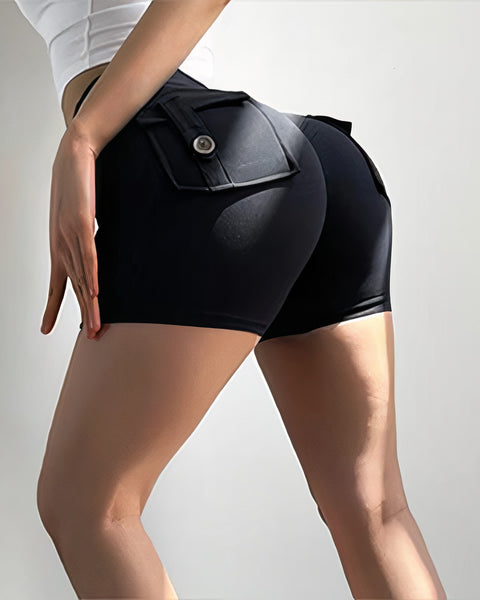 Flap Pocket Ruched Back Sports Shorts gallery 2