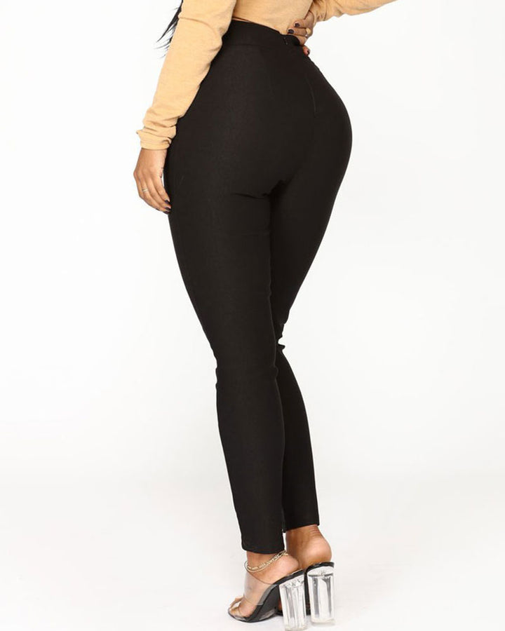 Solid Belt Tie V Wired High Waist Pants  gallery 8