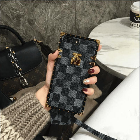 Plaid Leather Rivet Edge Phone Case for Samsung with Hand Strap gallery 5