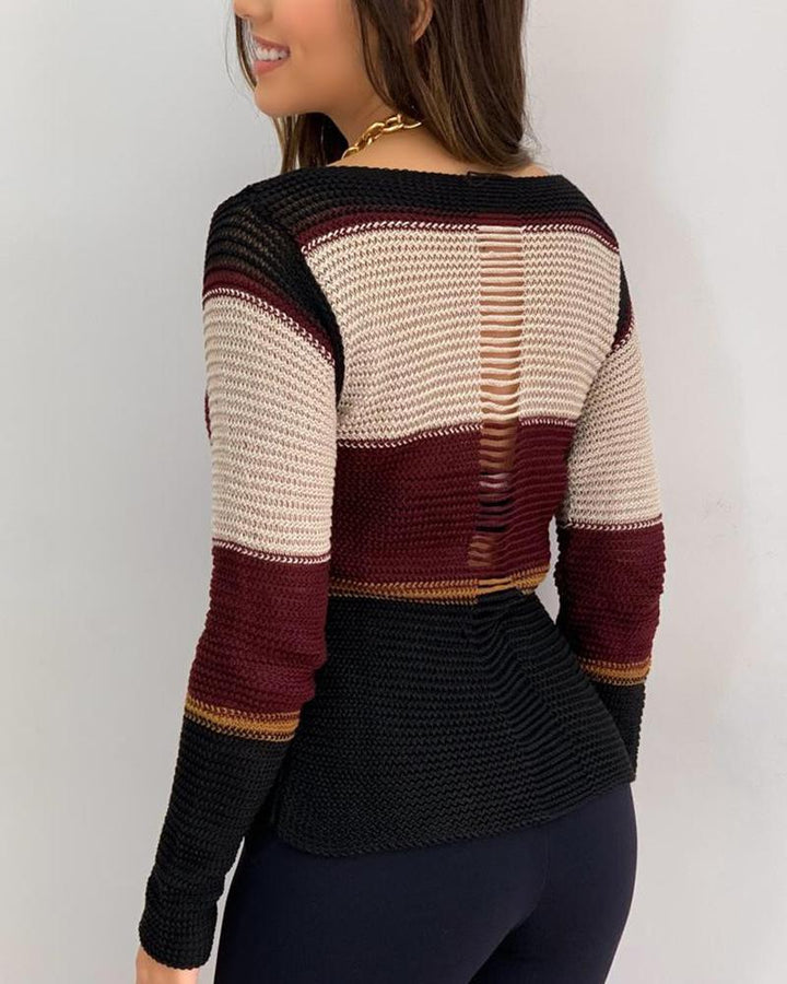 Colorblock Chunky Knit Hollow Out Back Sweater gallery 6