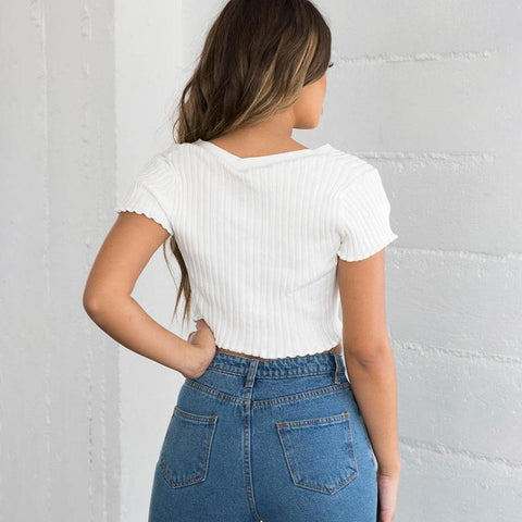 Casual V-Neck Ribbed Bust Button Crop Top gallery 3
