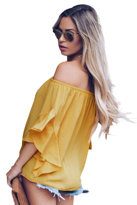 Yellow Off The Shoulder Knot Front Top gallery 3