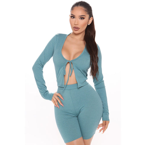 Ribbed Tie Front Scoop Neck Long Sleeves Top & Short Set