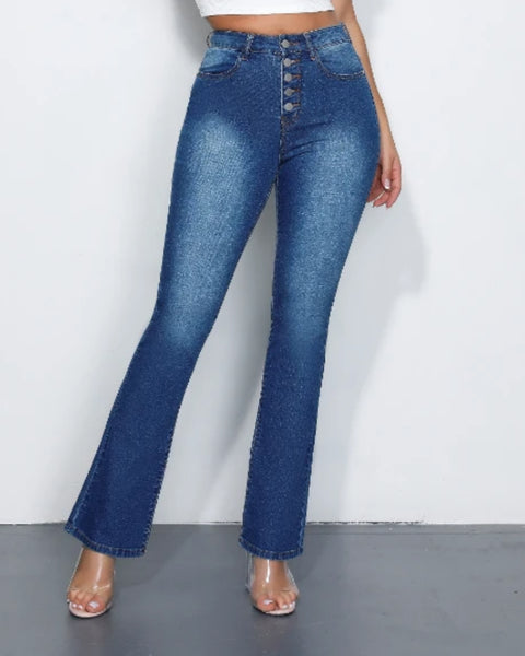 Button Front High Waist Flare Jeans