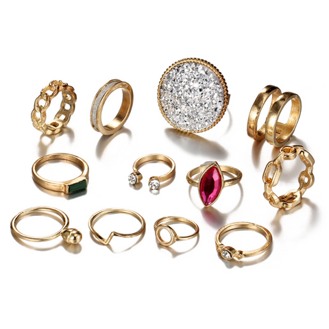 Gold Multi Shape Chain Crystal Ring Set of 12