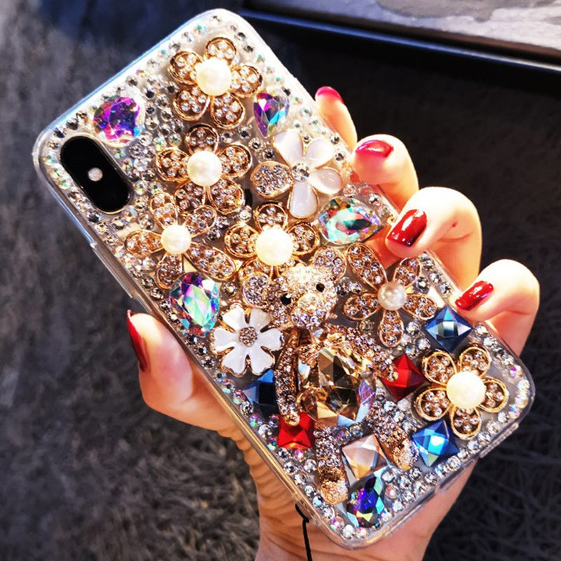 Luxury Floral Full Rhinestone Cover Phone Case for Samsung