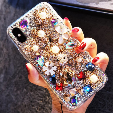 Luxury Floral Full Rhinestone Cover Phone Case for Samsung gallery 2