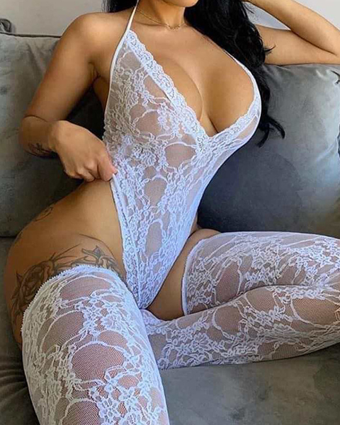 Floral Lace Halter Teddy Bodysuit & Stockings Set