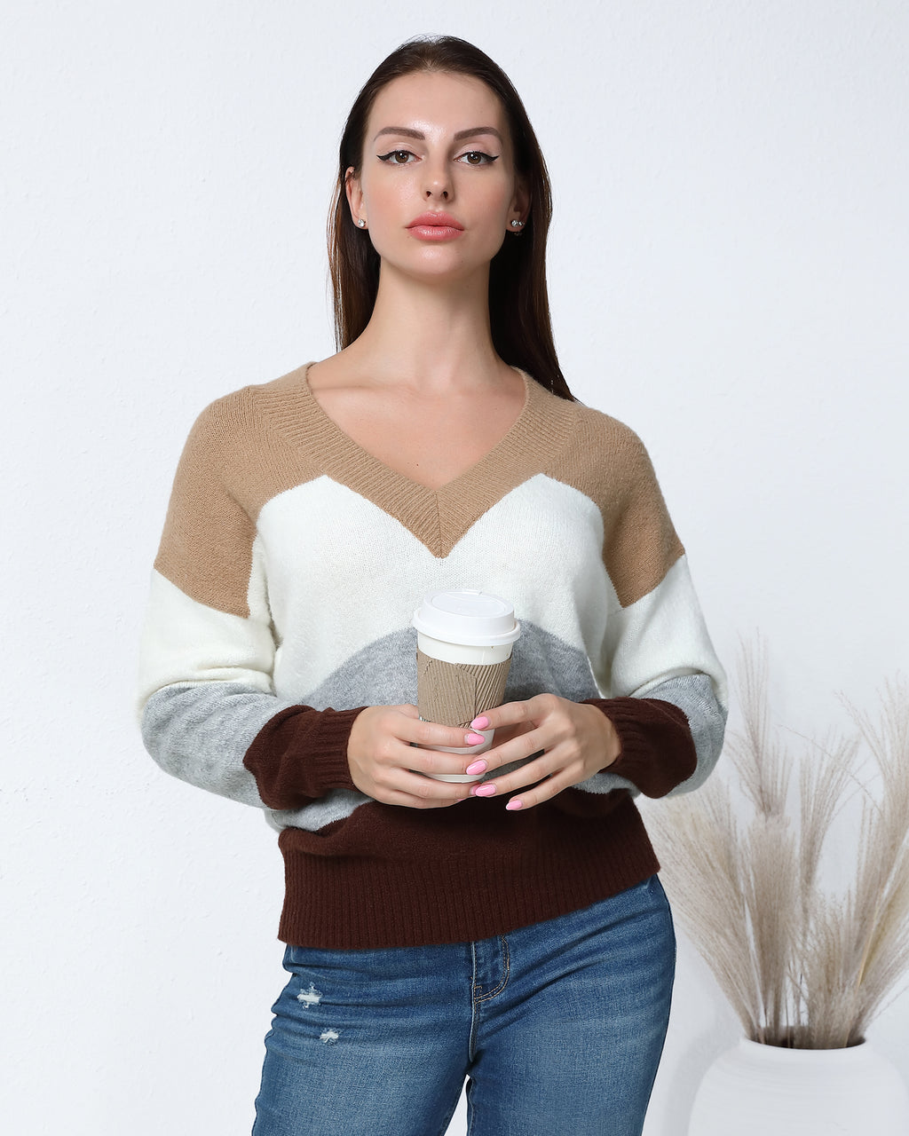 Cut And Sew Panel V-Neck Sweater