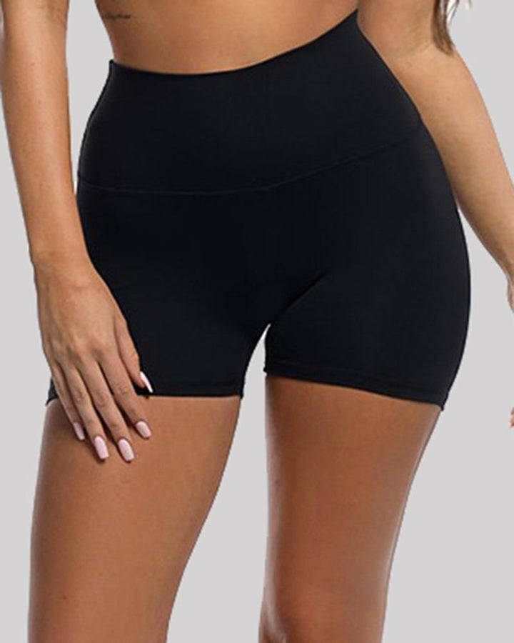 Solid Ruched Butt Lifting High Waist Sports Short gallery 4