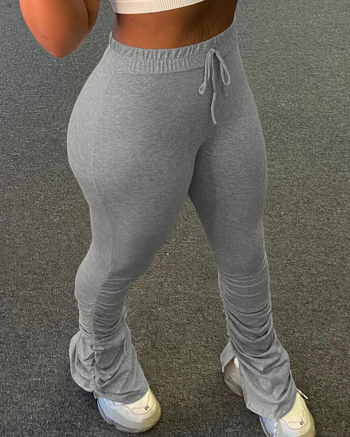 Drawstring Waist Form Fitting Split Stacked Pants  gallery 5
