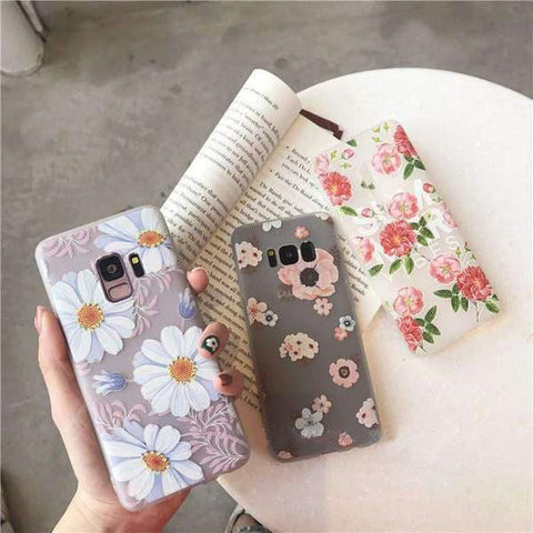 Literary Fresh Floral Soft Phone Case for Samsung