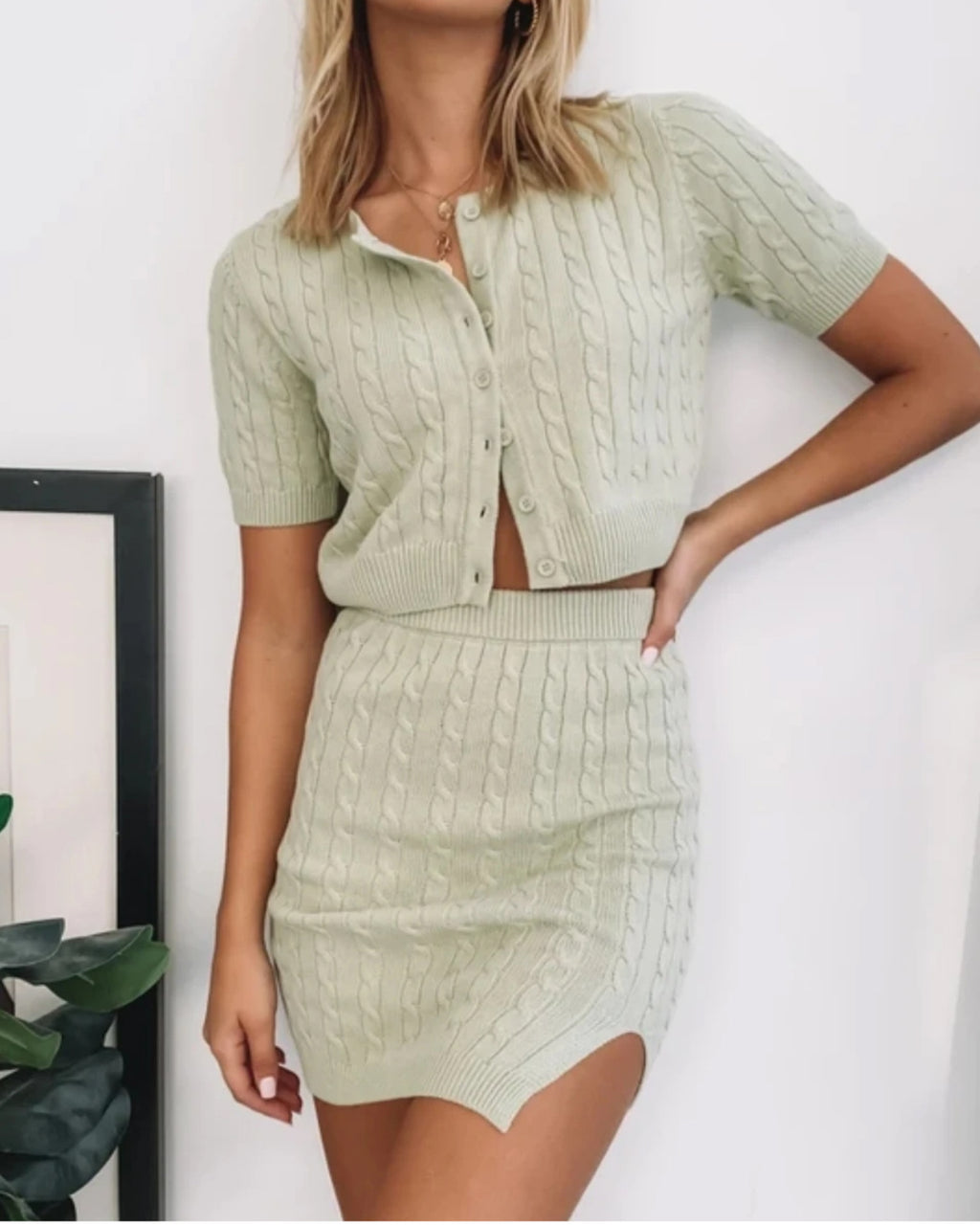 Cable Knit Button Up Cardigan & Split Thigh Skirt Set
